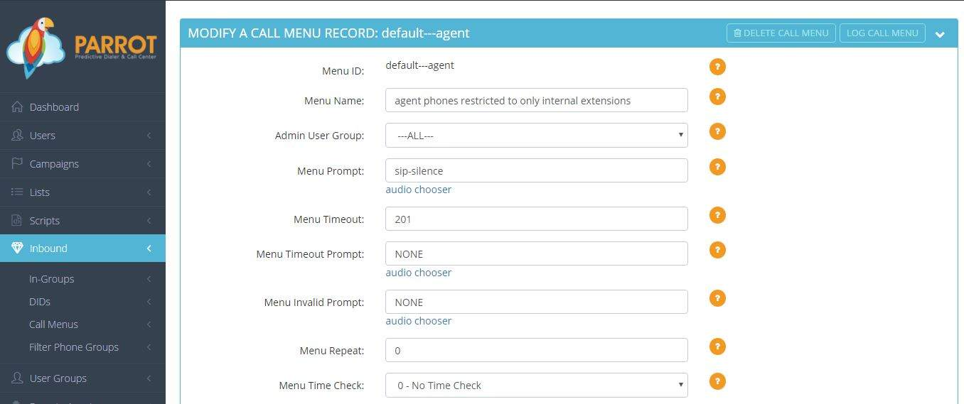 Example of the Call Menu options from the Cloud Call Center