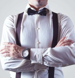 Businessman with bow tie and fashionable outfit