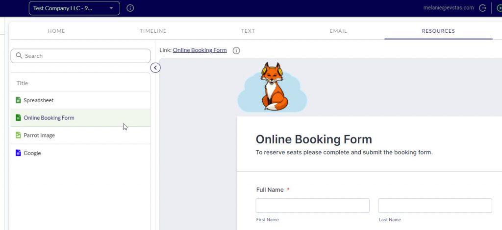 TAS Online Booking Form